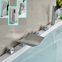 Brand New Curved Waterfall Spout Bath Mixer Widespread Deck Mount Bath Tub Faucet + Handshower Chrome Finish(China)