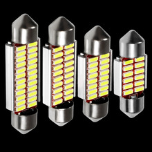 4pcs High Quality Super 31mm 36mm 39mm 41mm C5W C10W 4014 SMD LED Car Festoon Lights Auto Interior Dome lamp Reading Bulb White