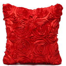2017 40*40cm Spandex Pillow Case Red Rose Flower Pillow Cover Cushion Hotels Pillowcase Home High Quality Free Shipping EF220