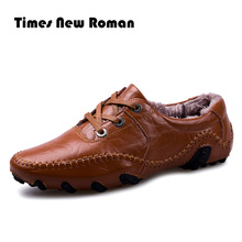 Times New Roman Winter Men Leather Shoes Casual Men Loafers Flats Shoes Moccasins Men's Loafers Genuine Leather Male Shoes(China)