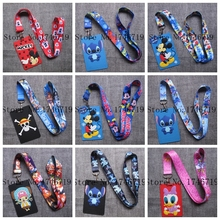 10 pcs stitch mickey one piece  Named Card Holder Identity Badge with Lanyard  Neck Strap Card Bus ID Holders With Key Chain