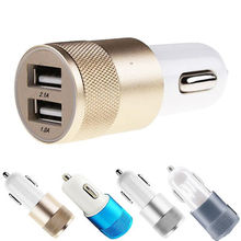 Hot!! Dual 2.1 A & 1.0 A 2 Port USB Car Charger Adapter for iPhone 5 6 Samsung HTC Cable