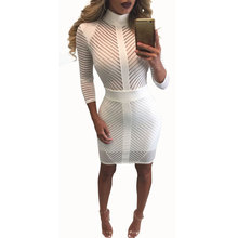 Buy 2016 Summer Sexy Mesh Dress Bandage Dresses Sexy Club Dress White bodycon Night Club Wear Party Dress Vestido De Festa for $14.52 in AliExpress store