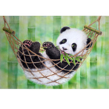 Home beauty 3d diy diamond mosaic picture of rhinestones embroidery DMC diamond painting cross stitch animals lovely panda AA818