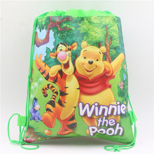 Drawstring Bags Winnie Pooh Decoration Non-woven Fabric  Happy Birthday Party Baby Shower Cartoon Kids Favors Gifts supplies 1pc