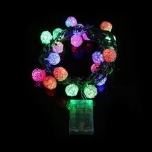 20 LED Battery Box Garden Christmas Party Colours Sepa Takraw String Lights modern home Halloween decoration lighting fixture(China)