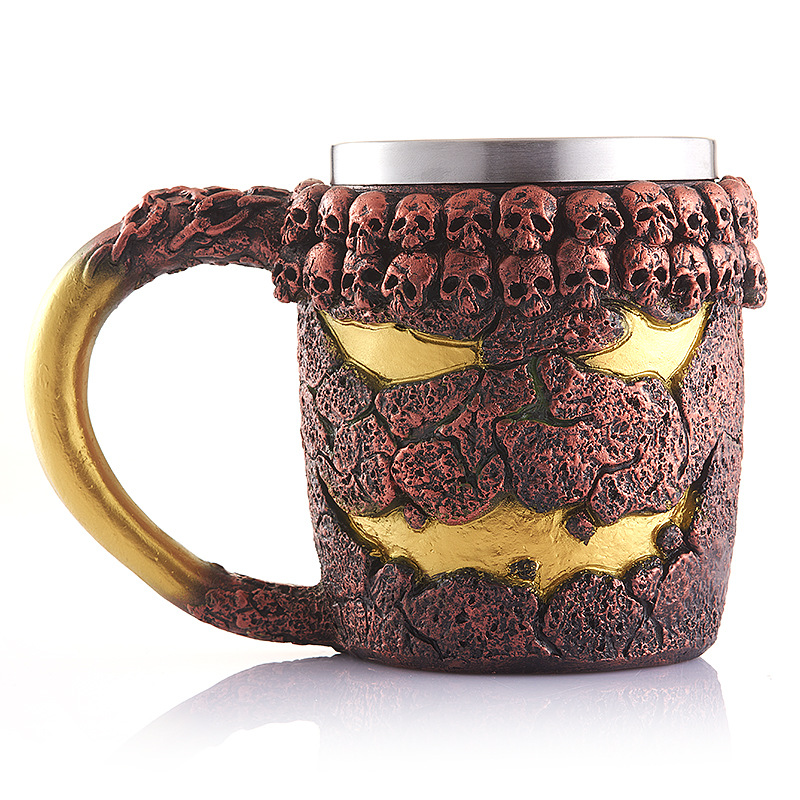 2016 New Cool Resin Stainless Steel Coffee Mug 3D Skull Cup Pirate Knight Drinking Grip Creative Drinkware(China)