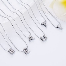LNRRABC New Fashion Design 26 Letters Personalized Crystal Silver Pendant Necklace Women Sweater Chain Best Friends Gift Jewelry