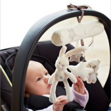Brand baby Rattl Rabbit baby music hanging bed safety seat plush toy Hand Bell Multifunctional Plush Toy Stroller Mobile Gifts(China)