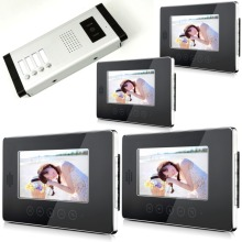 "7"" touch screen High Definition Camera Multi Apartment Video Door Phone Intercom System 1 Camera with 4 Monitors"