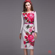 European style 2016 New arrivals spring summer fashion women clothes Beautifully printed temperament long-sleeved dress P804