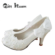Qin Kuan New Women Sexy Lace Flower High Heels Pumps Shoes Wedding White Pearl Heels Bridal Ladies  Bow Wedge Pumps Size 34-40