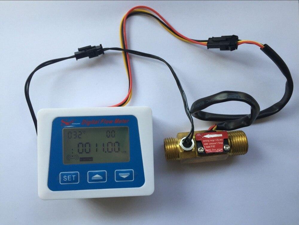 Brass flow sensor temperature measuring YF-B7 Hall sensor meter switch+LCD display Digital flow meter<br>