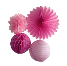 Fuchsia Pink Series Tissue Paper Pom Poms Paper Fan Paper Honeycomb Ball and Paper Lanterns Home Decor Babyshower Decorations