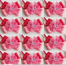 50pcs/Lot Big sale Girl Pet Dog puppy Cat red love heart Diamond Bow Ties Neckties Bowknot Valentine Lover Grooming Product LF04