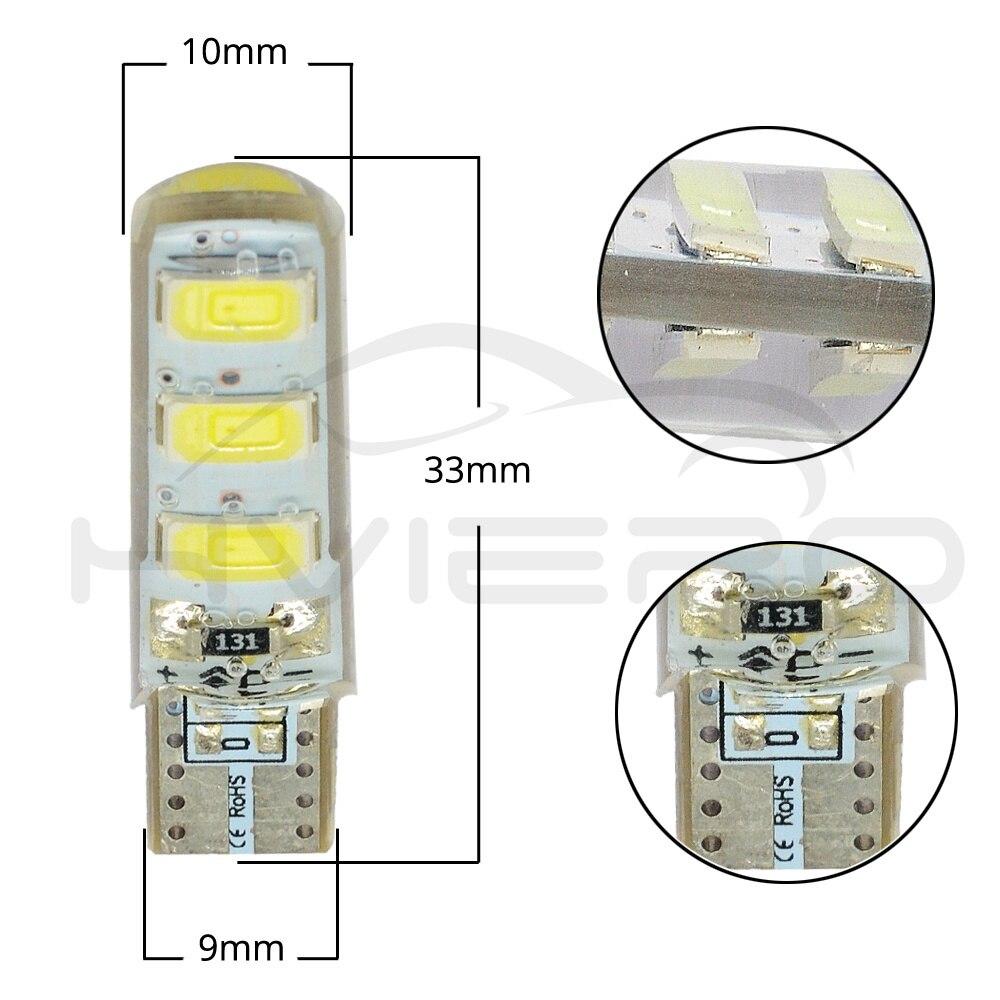 Hviero Car LED T10 510 W5W DC 12V Canbus 6SMD Silicone shell LED Tail Lights Bulb No Error Led Parking Fog light Auto Car Wedge Lamp