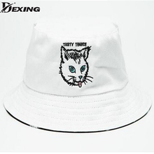 [Dexing2016 two side summer new Breathable cotton cat girls hip hop Yung Lean sad boys white panama bucket hat bob casquette(China)