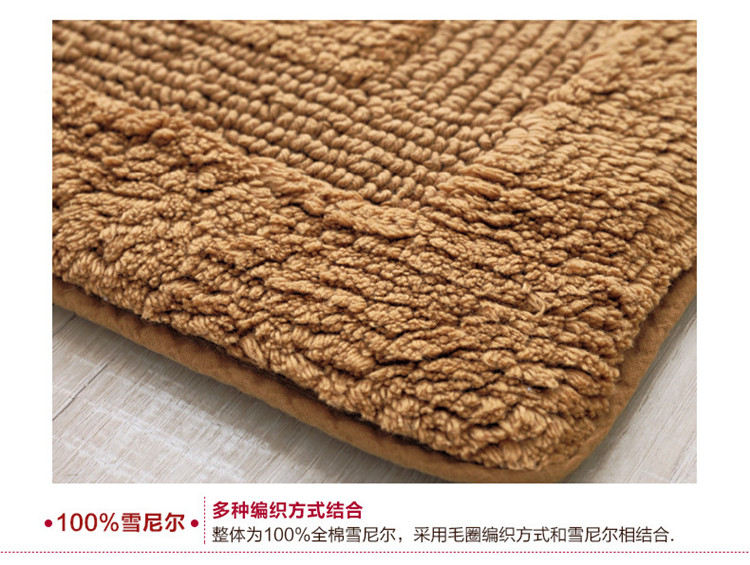 Double Suction Pad Thickening Chenille Doormat Kitchen Toilet Bathroom Rug With Thick Living Room Carpet