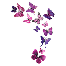 4 Styles 3D PVC Butterflies DIY Vinyl Wall Stickers Home Decor Adhesive Home Decoration Art Wall Sticker Kids Rooms Decorative(China)