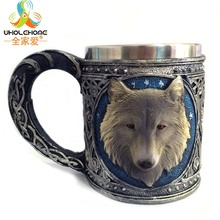 450ml Double Wall Resin Stainless Steel Wolf King Drinking Personalized 3D Wolf Head Metal Coffee Bottle