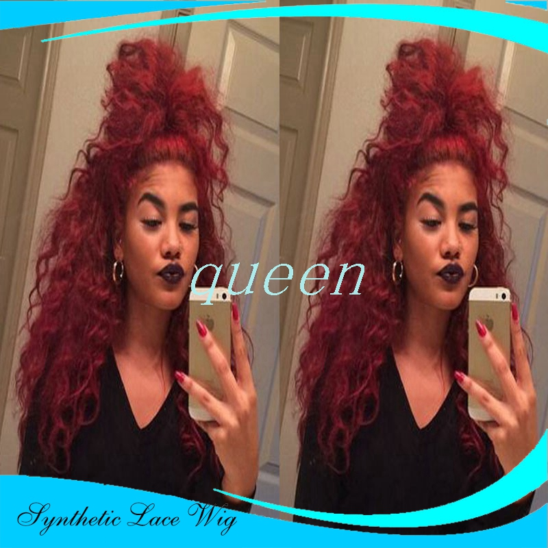 Curly Wig Fiber Loose Curly Wigs Synthetic Lace Front Wigs 180% Density Black Color Heat Resistant Synthetic Hair Wigs<br><br>Aliexpress
