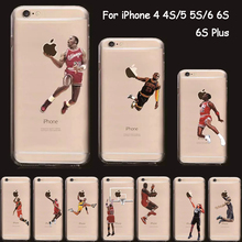 NBA Cover For iPhone 6S Case Silicon Sport Transparent Soft TPU Basketball Case for Apple iPhone 6S Plus 6 5 5S SE 5C 4S 4 7 7P