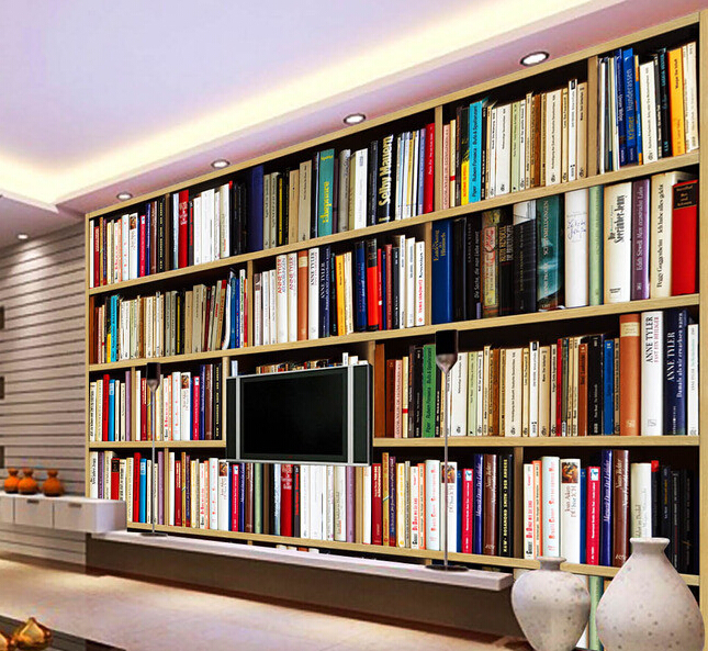 Custom papel DE parede 3 d, coloring book shelf murals for study of the sitting room TV setting wall wallpaper <br>