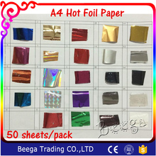 Free Shipping 50 Pcs 21x29cm A4 Size Gold Hot Stamping Foil Paper Laminator Laminating Transfere on Elegance Laser Printer(China)