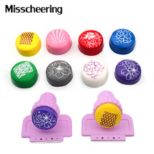 1set 2.4cm Round Nail Art Stamper Scraper Soft Silicone Short Pink Handle Nail Polish Design DIY Beauty Manicure Tools