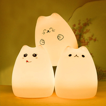 Creative Cute Cat LED Children Kids Baby Night Light Lamp Multicolor Silicone Soft Nursery Sensitive Tap Control Bedside Lamp