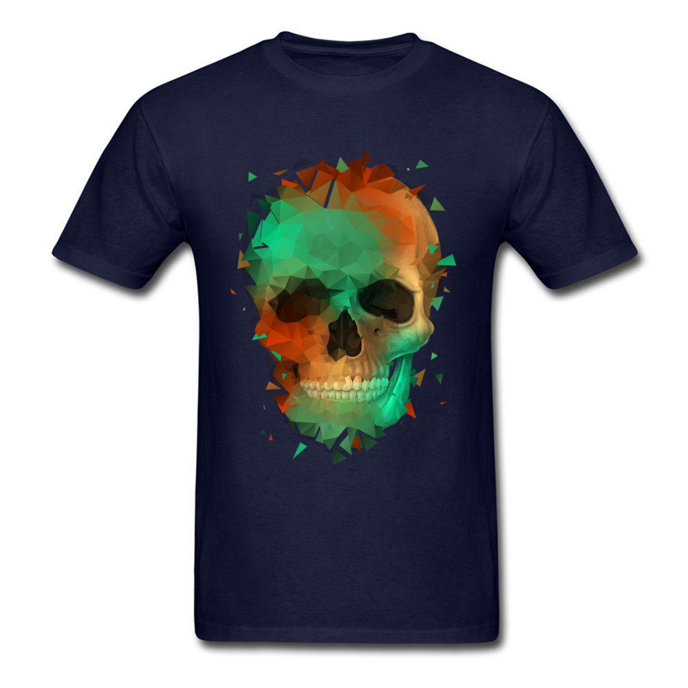 Geometry Reconstruction Skull 100% Cotton Tees for Men Design T Shirts comfortable Prevalent O-Neck Tops Shirts Short Sleeve Geometry Reconstruction Skull navy