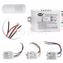 220V 1/2/3 Ways Wireless ON/OFF Lamp Remote Control Switch Receiver Transmitter-Y122