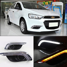 Ownsun Brand New Updated LED Daytime Running Lights DRL With Black Fog Light Cover For Chevrolet Aveo 2015-2016(China)