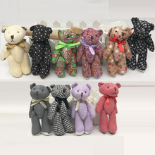 Bulk 12cm x20pcs Colorful Cute Cloth Teddy Bear Pendants Doll Plush Stuffed Toys cellphone bag key chain(China)