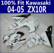 100%Fit Zx10r 2004 2005 04 05 Fairings For Kawasaki Ninja Fairing kit White black +EMS Free x23