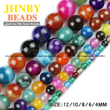 JHNBY Stripe beads Natural Banded Stone carnelian Onyx Mixed color Round Loose beads ball 4/6/8/10/12MM Jewelry bracelet Making