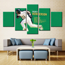 5 piece canvas print oil painting wall pictures for living room paintings cuadros decorativos green football rickey henderson(China)