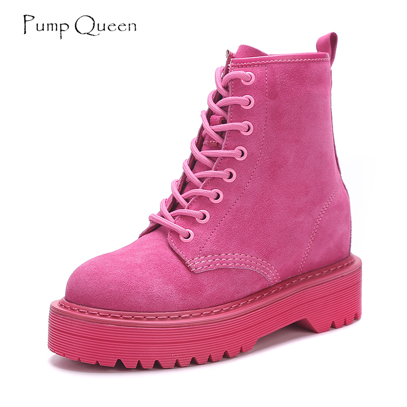 Fashion Pink Ankle Boots For Women Wedge Martin Boots Increasing Platform Female Shoes 2018 Punk Style Suede Leather Lace Up<br>