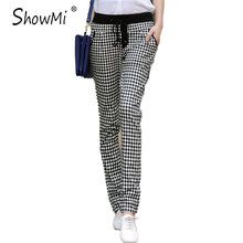 ShowMi New 2017 Summer Trousers Women Plus Size Ladies Cotton & Linen Casual Drawstring England Black and White Plaid Pants