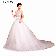 vestido de noiva plus size  ball gown wedding dresses latest code set auger strapless bind with luxury trailing dress together
