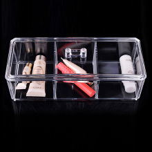 Cosmetic Box Transparent Clear 3 Grid PS Plastic Jewelry Drawer/Crystal Cosmetics Makeup Boxes Home Room Storage - excellbay store