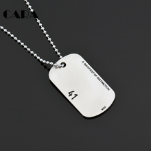 CARA New arrival 316L Stainless Steel Dog Tag Necklace Classical Fashion Men numbers Necklace Jewelry well Polished CAGF0141