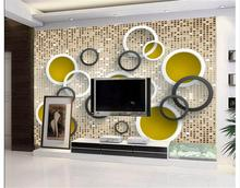 custom 3d photo wallpaper room non-woven mural sticker color glass brick circle HD photo painting sofaTV background wallpaper 3d