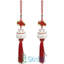 2pcs Fashion nice souvenir China knot mascot ceramic lucky cats feng shui peace symbol decorative supplies car ornaments gift(China)