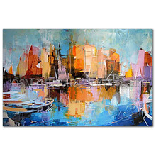 Professional Artist Handmade Impression Landscape Oil Painting on Canvas Abstract City Landscape Art Picture for Living Room