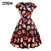 OTEN Summer skater dress elegant Vintage Red Ball Gown Sugar Skulls Flower print 50s rockabilly Evening Party large size Clothes(China)
