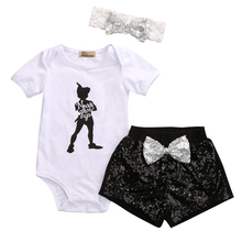 Hi Hi Baby Store Baby Girls People Printed Romper + Sequin Shorts + Headhand 3Pcs Outfits(China)