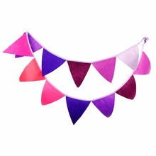 12 Flags - 3.2M Purple Colour Felt Banners Birthday party Bunting Decor Indian Camping Garland Halloween Decoration(China)