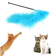 Cute & Funny Pet Products Cat Toys Turkey Feather Wand Stick For Cat Catcher Teaser Toy Increase Interactive Fun(China)