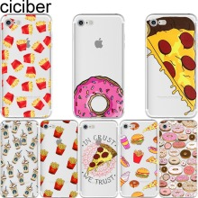 ciciber Phone cases Fries Donuts Pizza Food Pattern Design soft silicon case cover For iPhone 6 6S 7 8 plus 5 5S SE X Capinha(China)